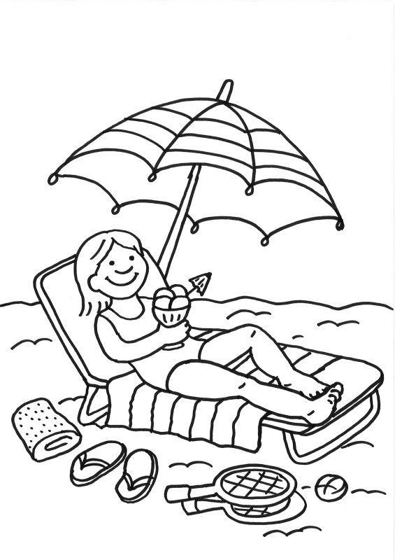Urlaub malvorlage  Ausmalbild Sommer: Ausmalbild: Eisessen am Strand kostenlos ...