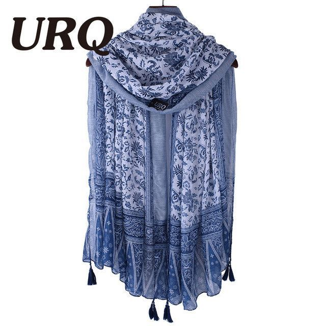 2016 large Soft Viscose Scarf with Tassels Floral Print for Women Bohemian Style Summer bufandas cachecol V9A18544