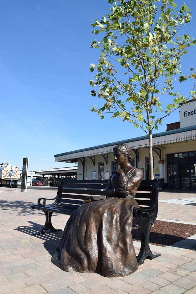 Statue of Charlotte Yonge by Vivien Mallock at Eastleigh Railway Station.Photo courtesy of Eastleigh Borough Council.