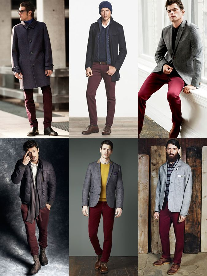 c0f44ffc1b Men s Burgundy Trousers Chinos Outfit Inspiration Lookbook