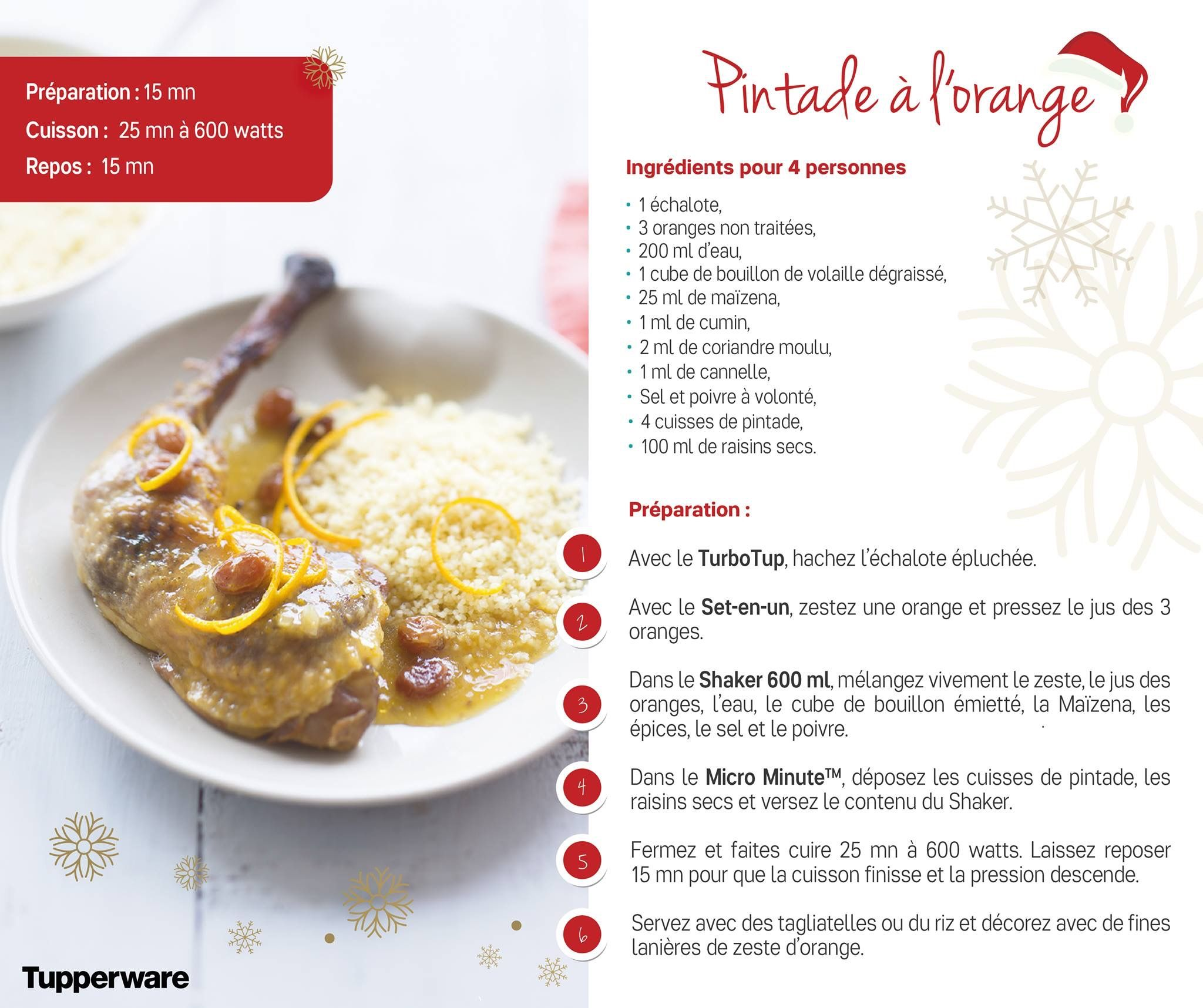 Recette de pintade l 39 orange la micro minute par tupperware volaille pinterest food - Micro minute tupperware recette ...