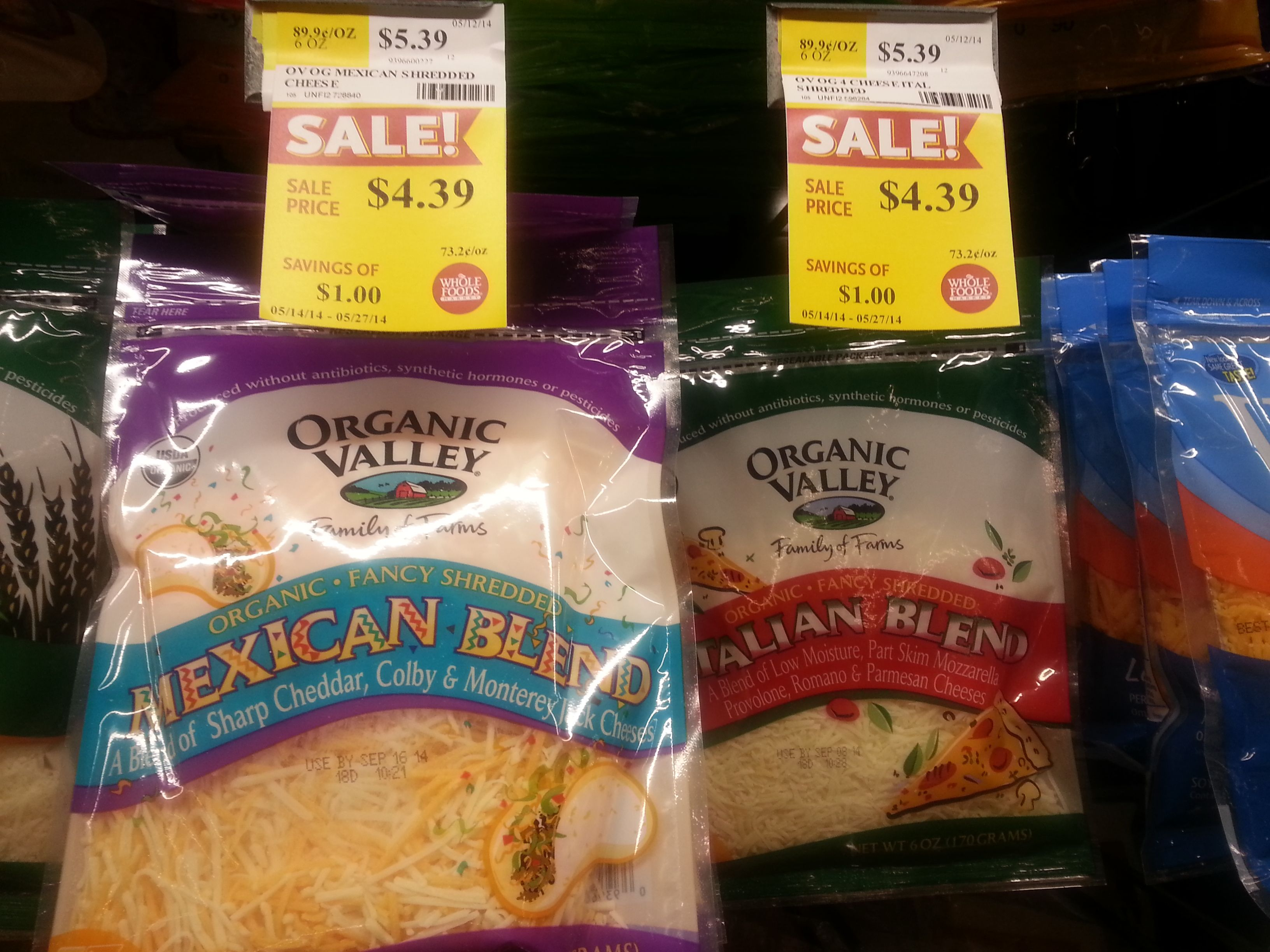 Organic Valley Shredded Cheese Deal at Whole Foods Only