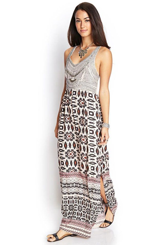 Love 21 - A sleeveless woven maxi dress featuring a tribal print and embellished front. . Smocked ...