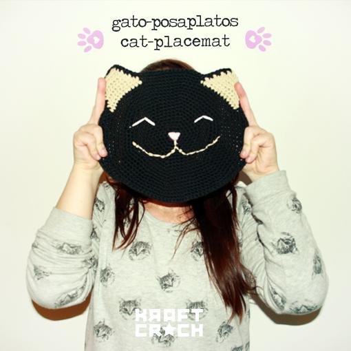 Patrón de ganchillo Gato-Posaplatos | Patrón de ganchillo gato ...