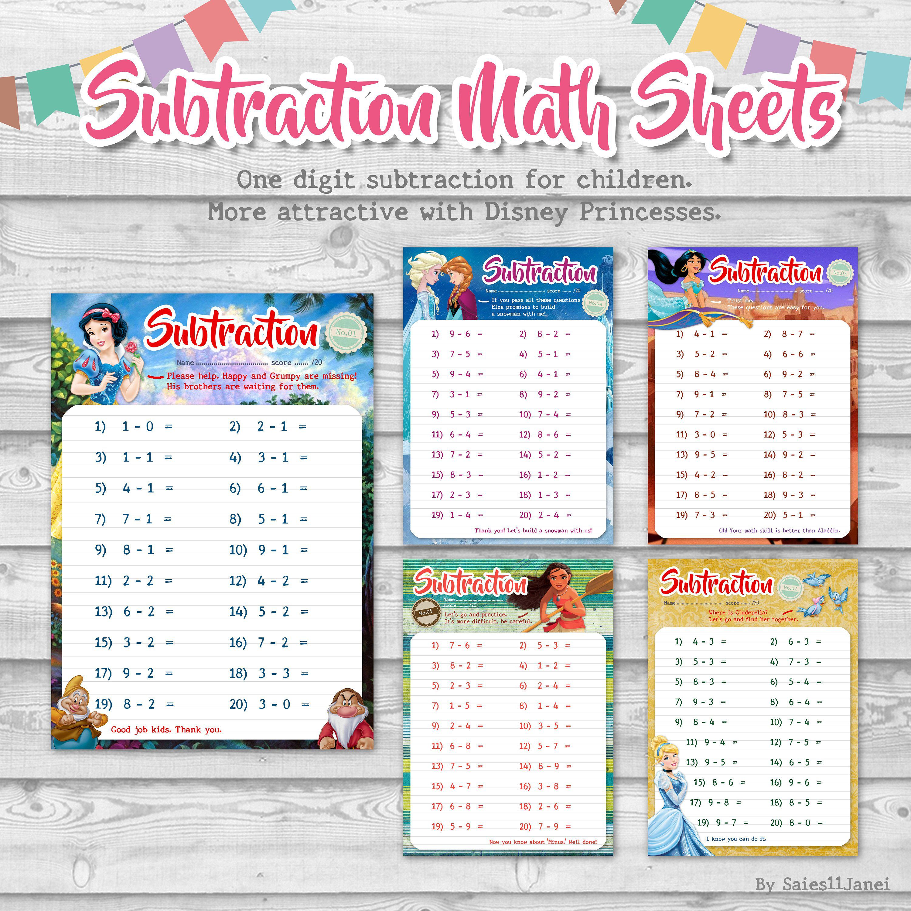 Excited to share the latest addition to my #etsy shop: Disney Math Sheets- Disney Princess-Subtraction-Kid…   Printable math worksheets [ 3000 x 3000 Pixel ]