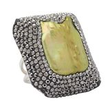 Freshwater Pearl & Crystal Sterling Silver One Size Ring