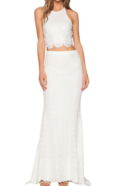 Happy Sailed Women S Two Piece Elegant Lace Maxi Dress Medium White Amazon Fashion Elegant White Dress Maxi Lace Skirt Maxi Dress [ 1500 x 955 Pixel ]