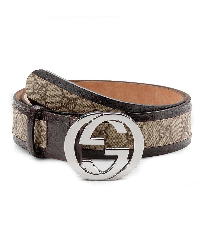 33a79f3c06c Gucci original GG canvas belt with interlocking G buckle 114874 9643  (brown) (38)