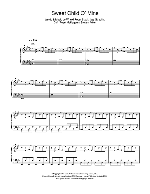 taken by trees 39 sweet child o 39 mine 39 sheet music notes chords in 2019 sheet music sheet. Black Bedroom Furniture Sets. Home Design Ideas