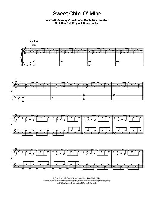 Taken By Trees Sweet Child O Mine Sheet Music Notes Chords Score Download Printable Pdf Sheet Music Notes Sweet Child O Mine Sheet Music