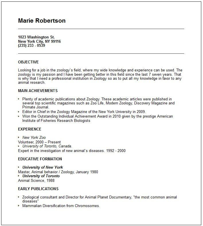 Zoology Resume Examples Pinterest Resume Examples Zoology And