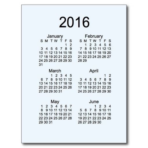 Alice Blue 2016 Mini 6 Month Calendar Post Card | All Products ...