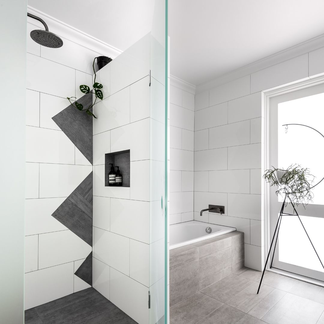 This #bathroom and #laundry #renovation in a 1970s split level open ...