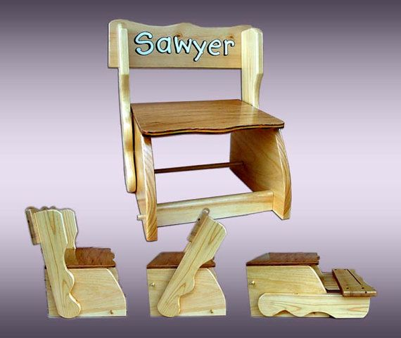 Superb Folding Combination Child Chair U0026 Step Stool, Acrylic Painting Personalized  Kids Convertible Chair/Stool