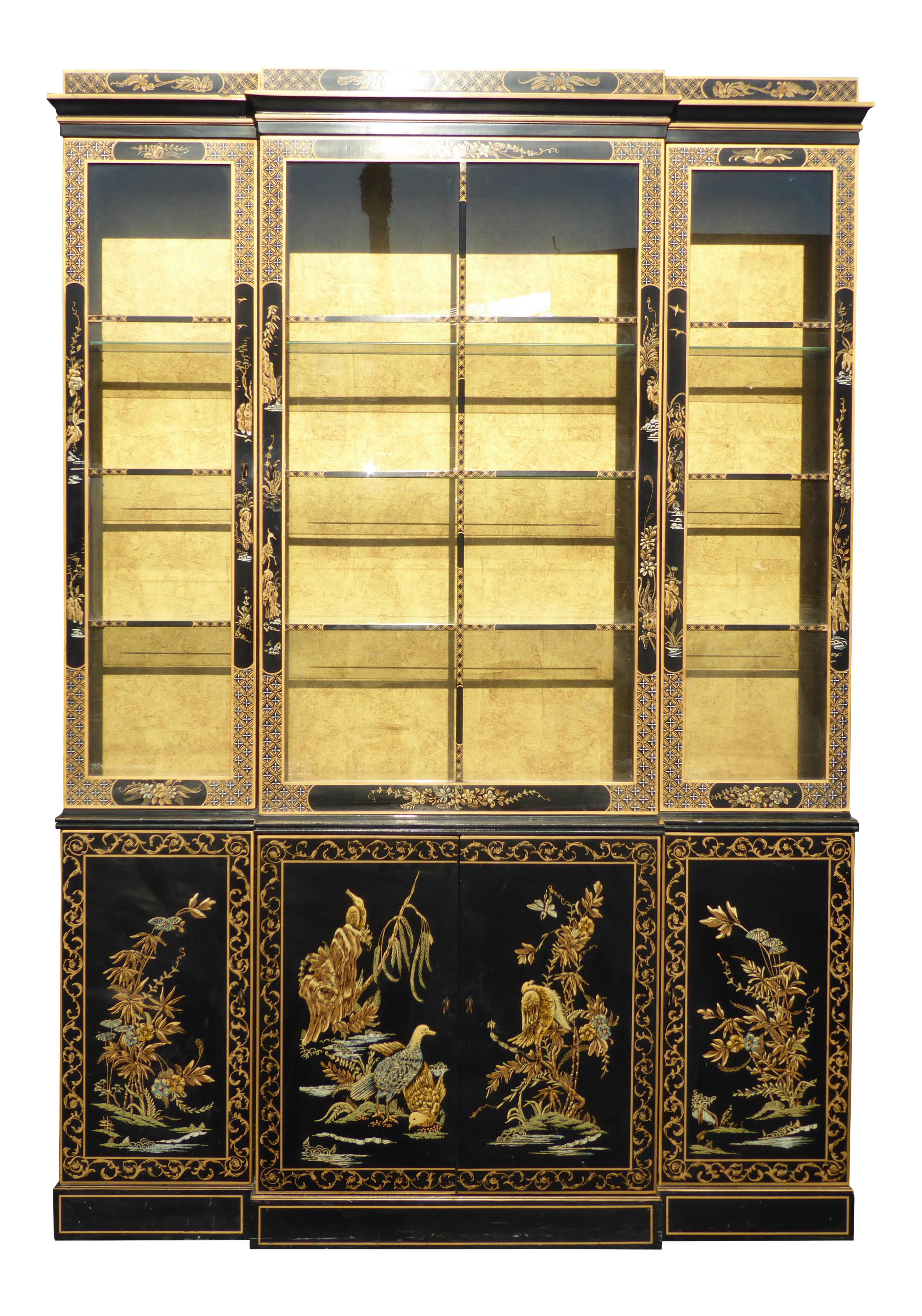 Drexel Heritage Vintage Asian Chinoiserie Black Lacquered & Gold ...