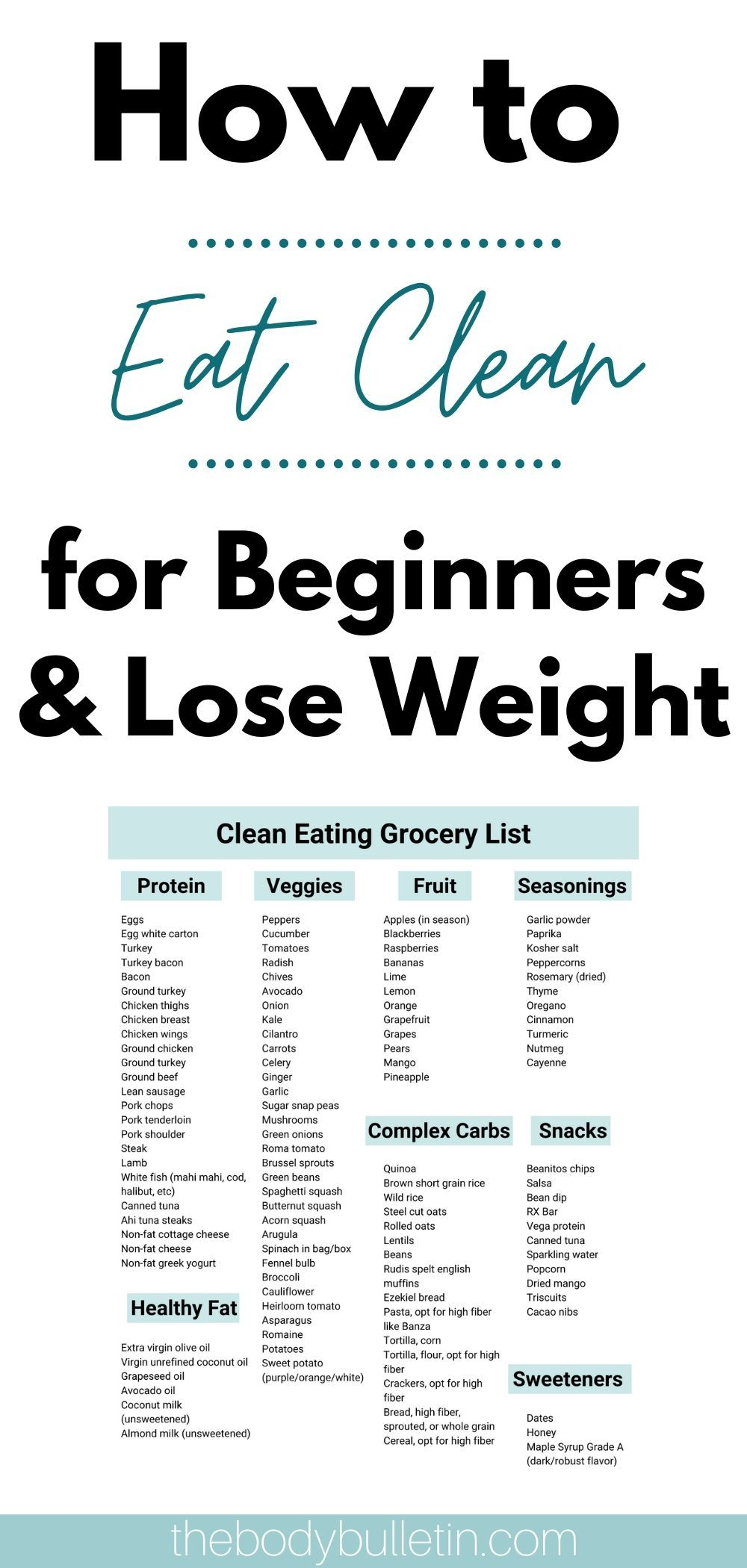 How to Eat Clean for Beginners Losing Weight • The Body Bulletin