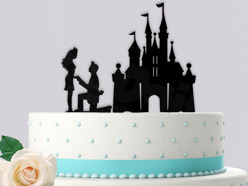 Disneyland Castle Proposal Wedding Cake Topper Disney Caketopper Proposingtopper