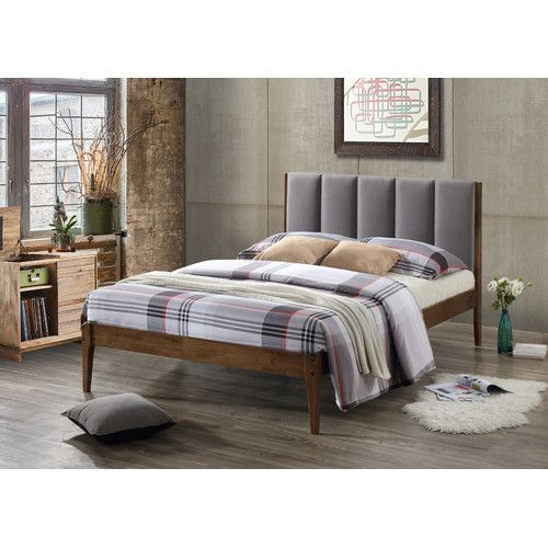 Rachele Mid-Century Fabric and Wood Platform Bed