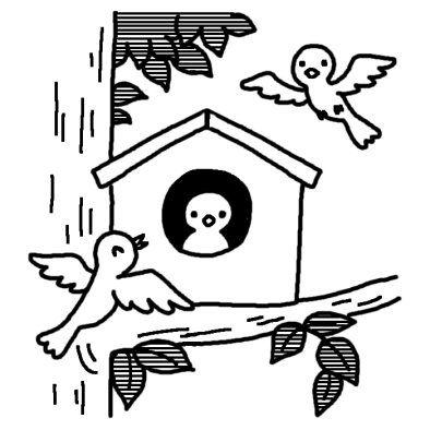 巣箱 愛鳥週間 春の季節 5月の行事 無料 白黒イラスト素材 イラスト 巣箱 無料 イラスト 素材