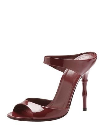 Bamboo-Heel Patent Leather Sandal, Scarlet by Gucci at Bergdorf Goodman.