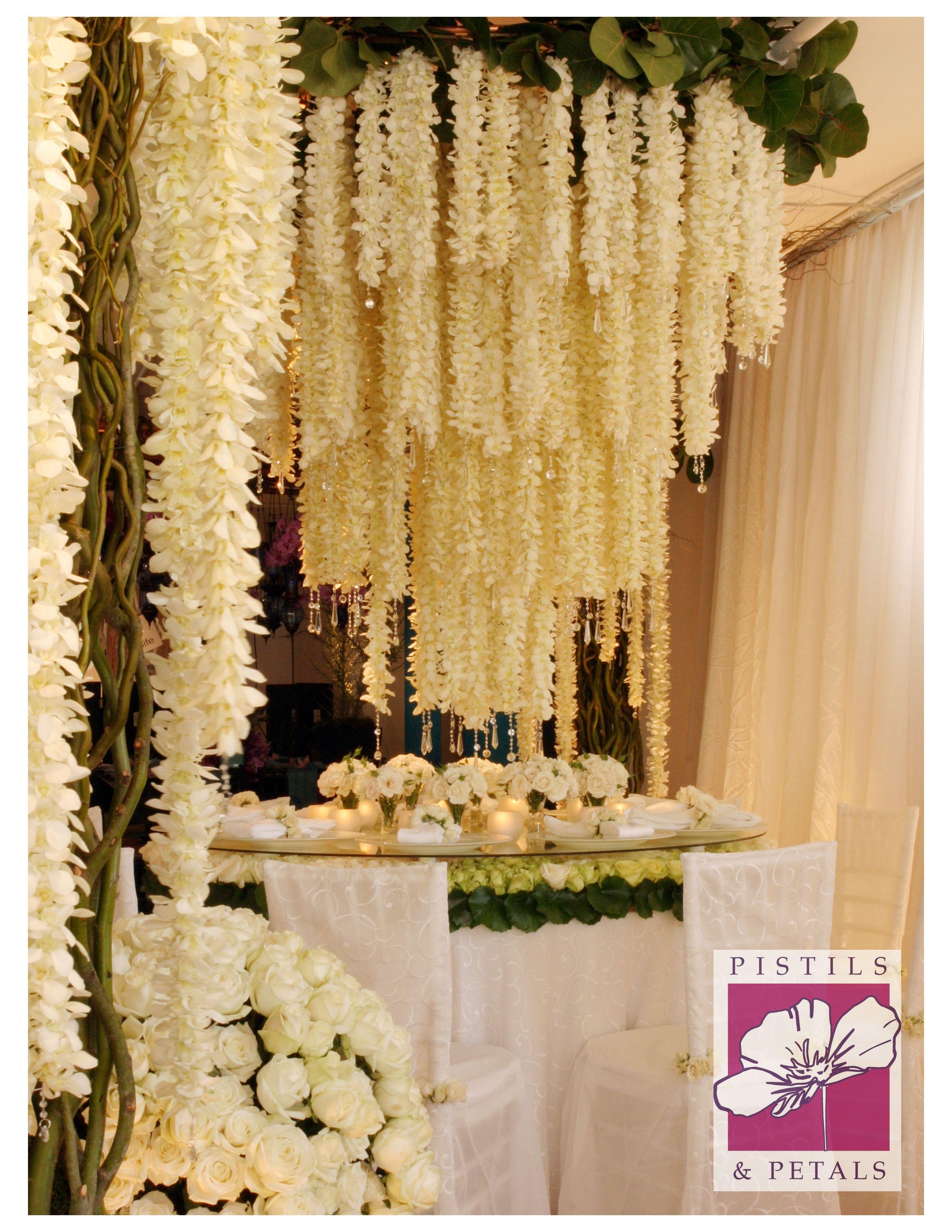 Suspended florals for weddings suspended floral arrangements - Wedding Centerpiece Flower Arrangement By Pistils Petals Hanging Flower