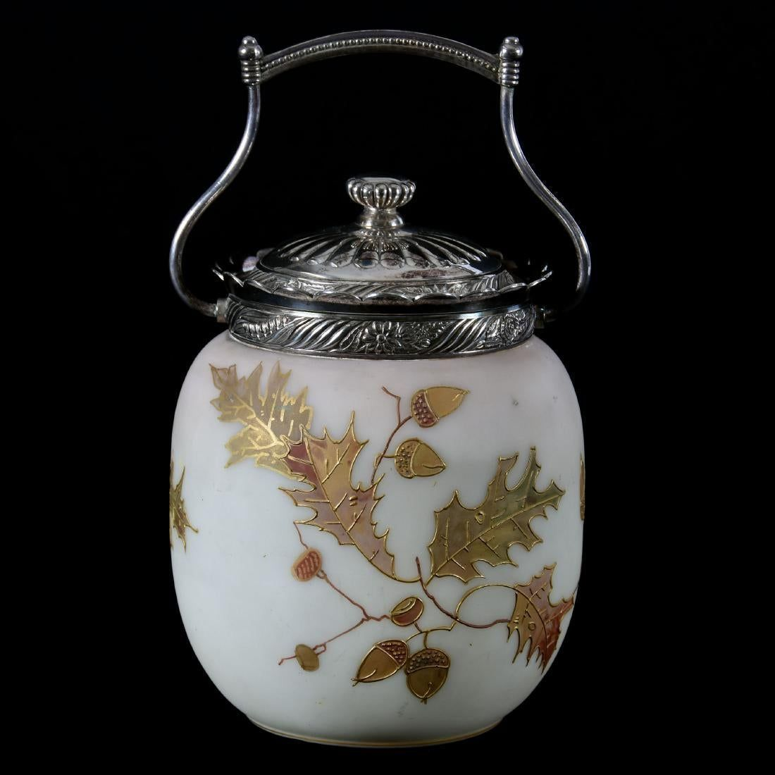 Mt Washington Biscuit Jar With Oak Leaves And Acorns In