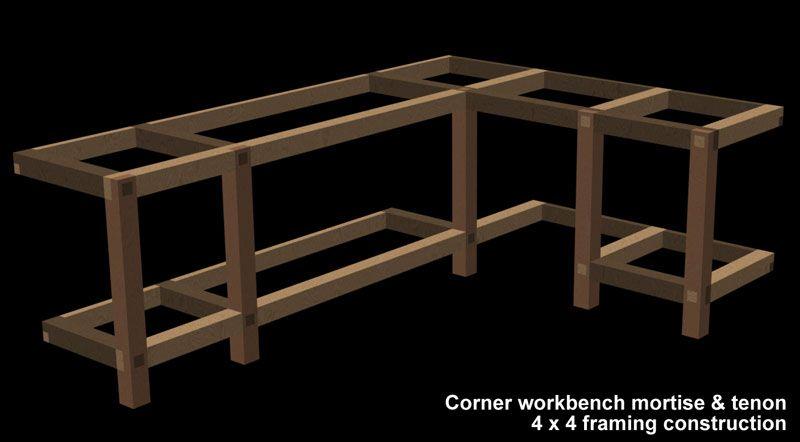 Garage shop corner l shape workbench design woodworking for L shaped garage