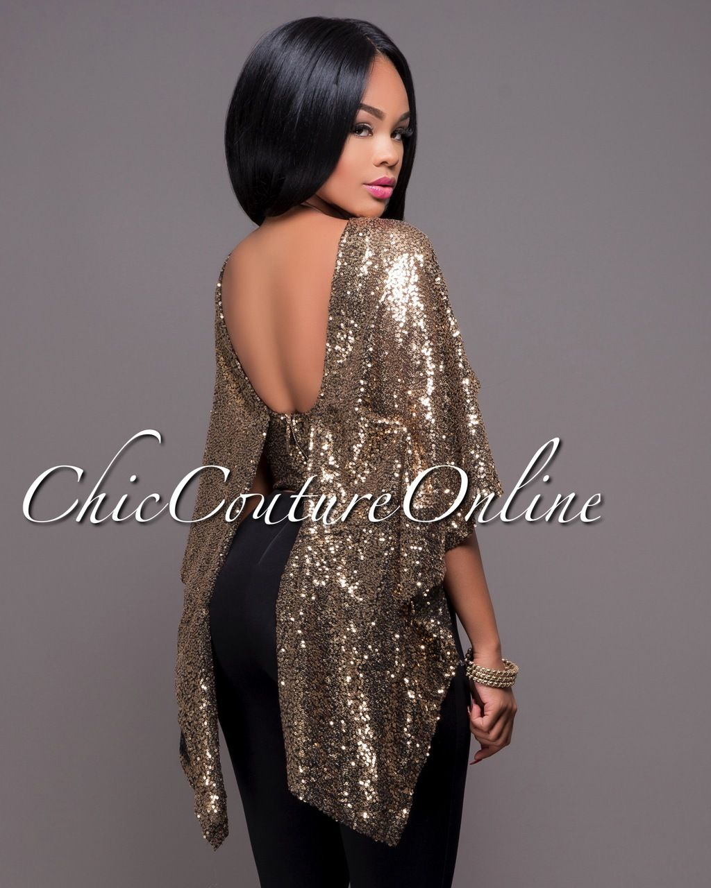 c20e2f9dd7 Pin by Chic Couture Online on Clothing ~ Chic Couture Online | Sequin cape,  Gold sequins, Sequins