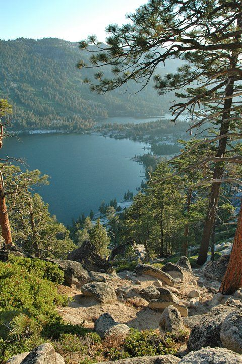 Echo Lake Ca >> View From Above Of Lower And Upper Echo Lakes Ca Just
