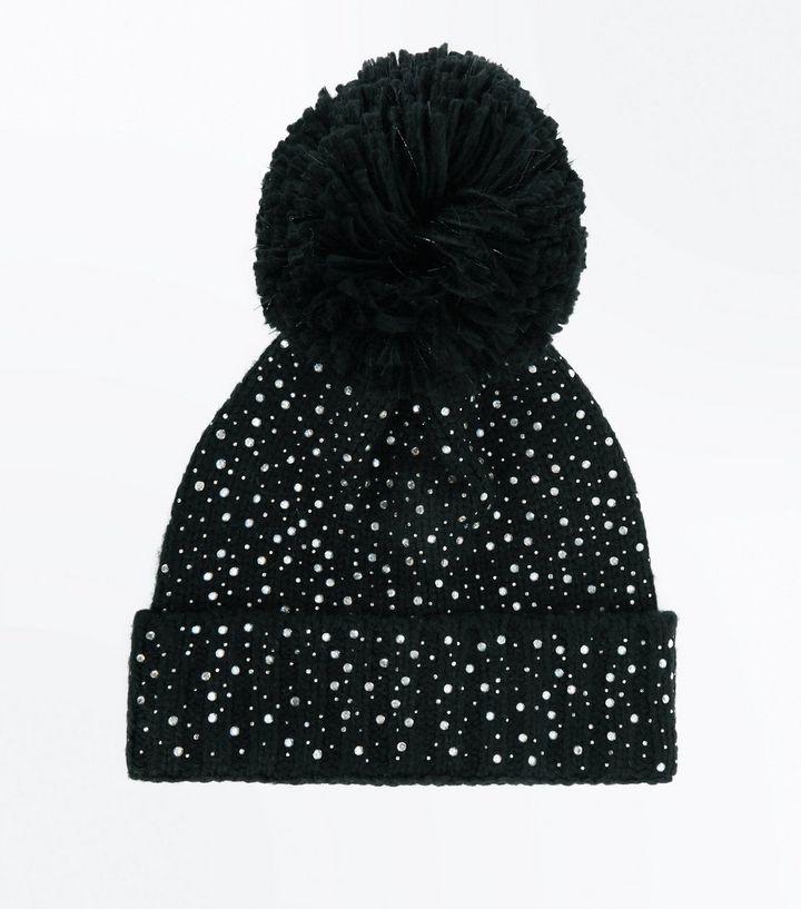 Black Diamante Embellished Bobble Hat  18d9e6cb906