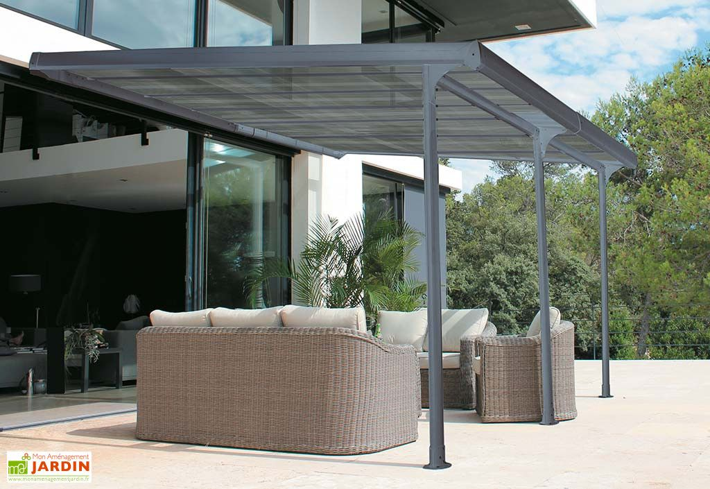 Pergola Adossee En Aluminium Gris Et Polycarbonate 6 Mm 12 M Pergola Bioclimatique Gloriette De Jardin Pergola