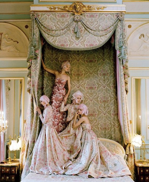 Kate Moss at the Ritz in Paris, dressed in Spring 2012 Haute Couture. Photographed by Tim Walker for Vogue, April 2012.