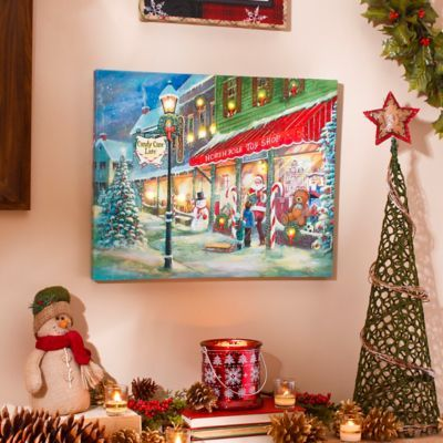 Candy Cane Lane Decorations Candy Cane Lane Led Canvas Art Print  Candy Canes Printand Candy