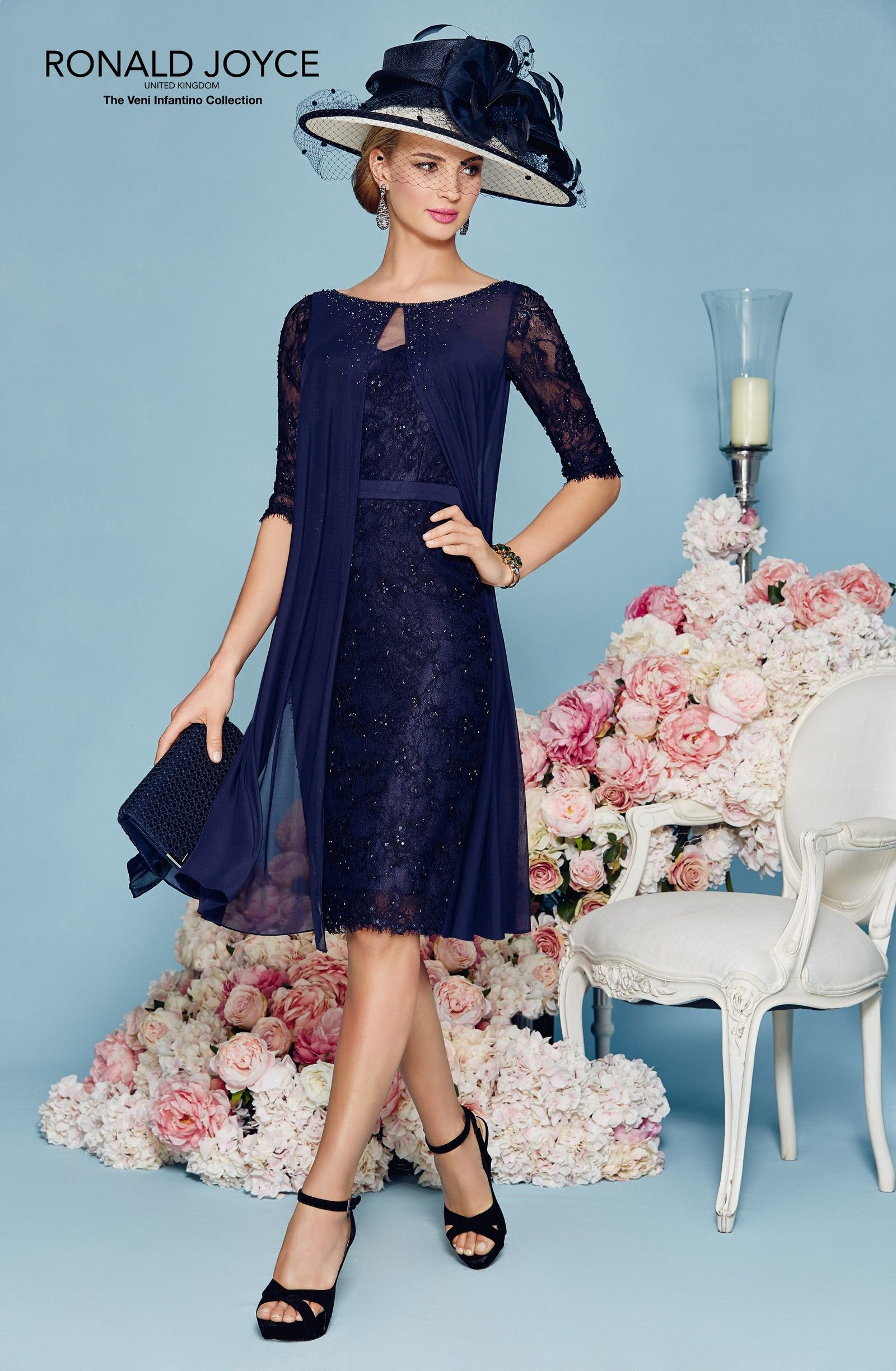 Elegant Navy Blue Lace Mother of the Bride Dresses Knee Length 3/4 ...