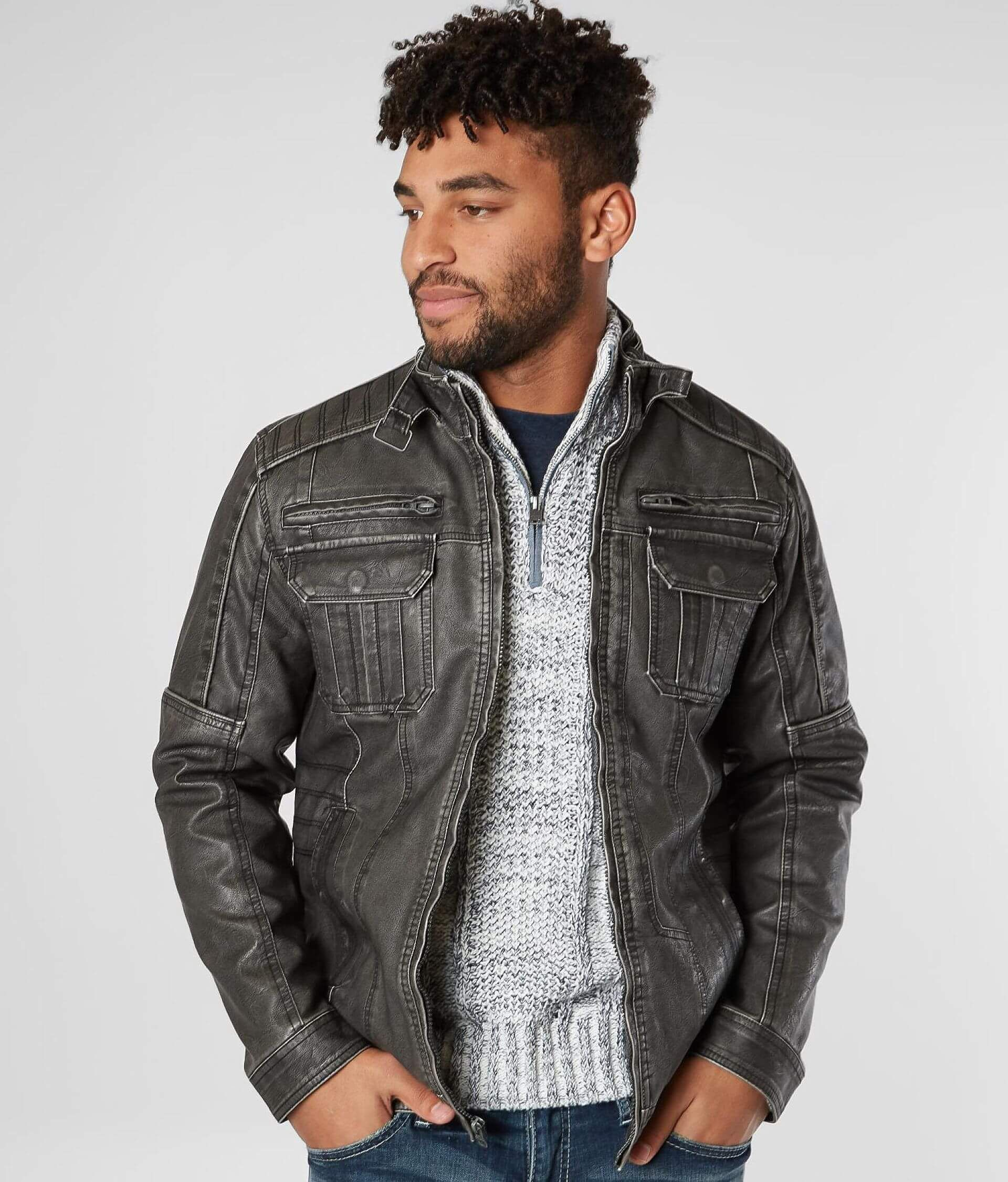Buckle Black Washed Faux Leather Jacket Men's Coats