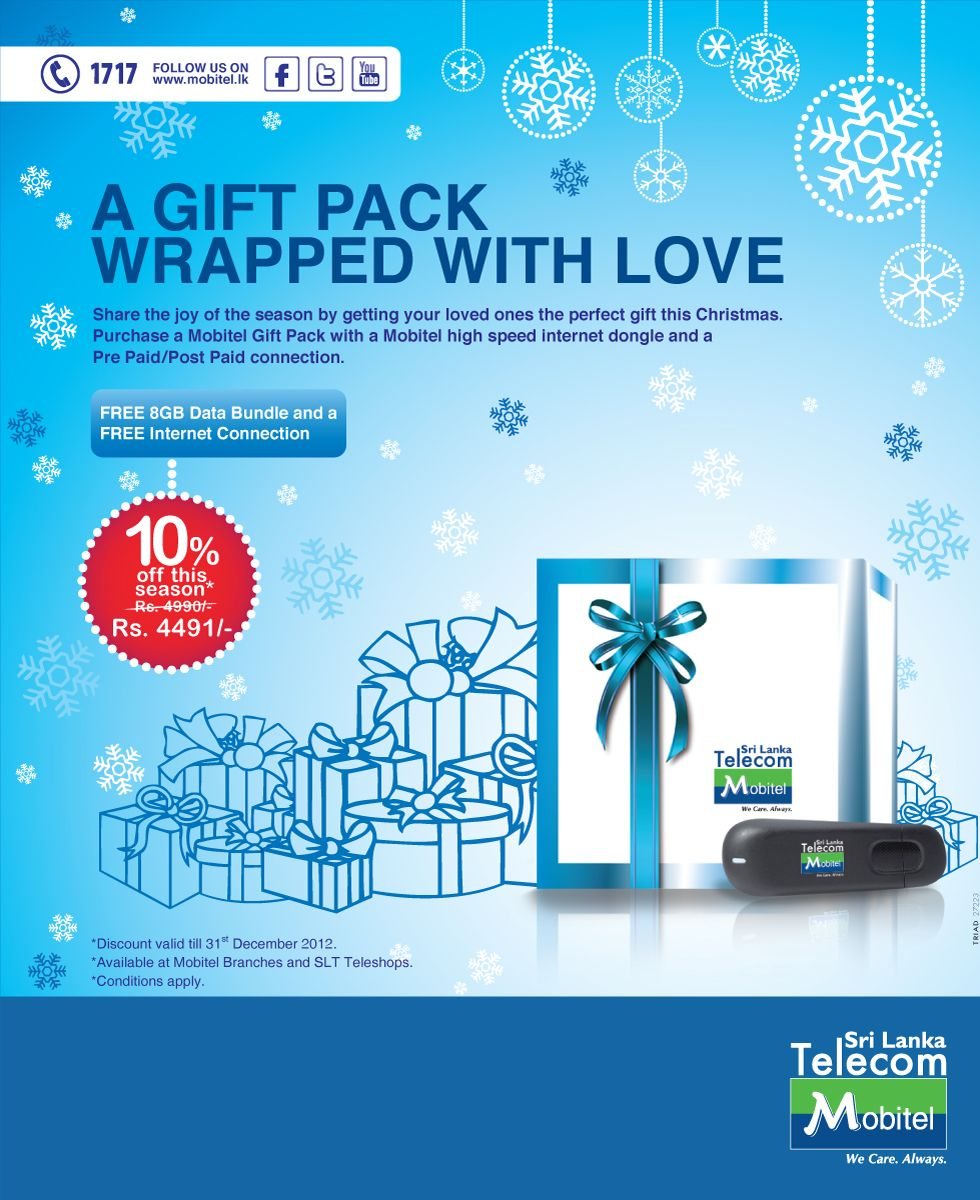 A Gift Pack Wrapped With Love Purchase Mobitel High Speed Internet Dongle And Pre Paid Post Connection At Special