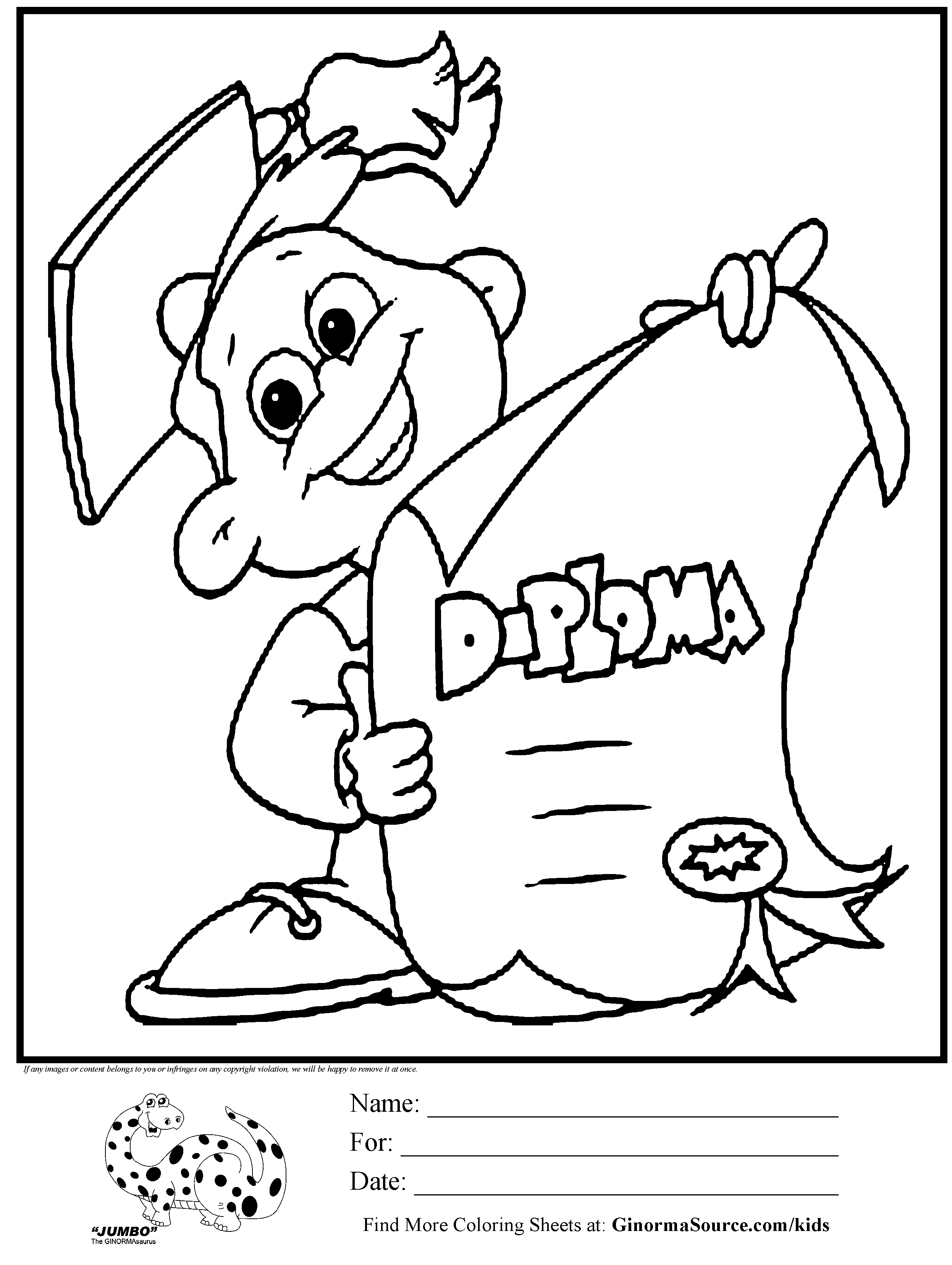 Coloring pages for kindergarten graduation - Kindergarten diploma coloring page