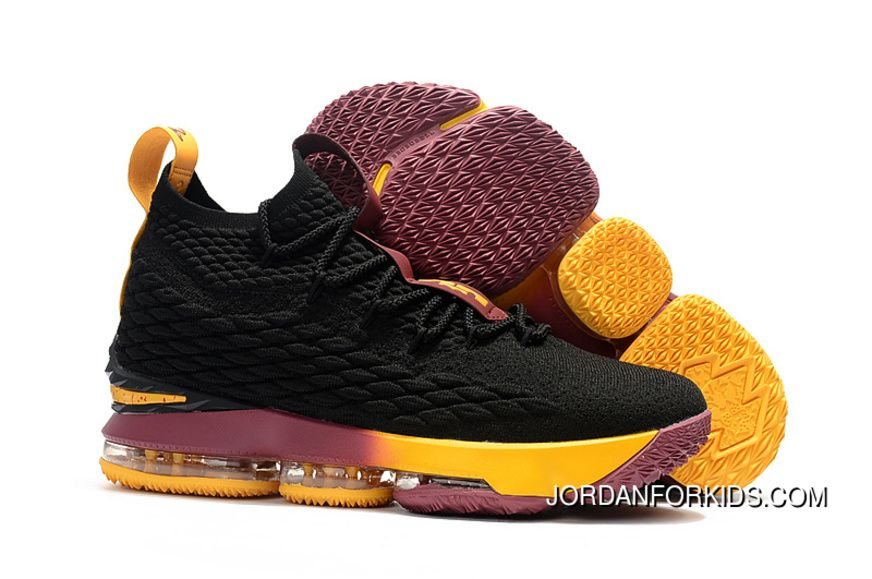 "685d15b426a Nike LeBron 15 ""Cavs"" Black Yellow Wine Copuon"