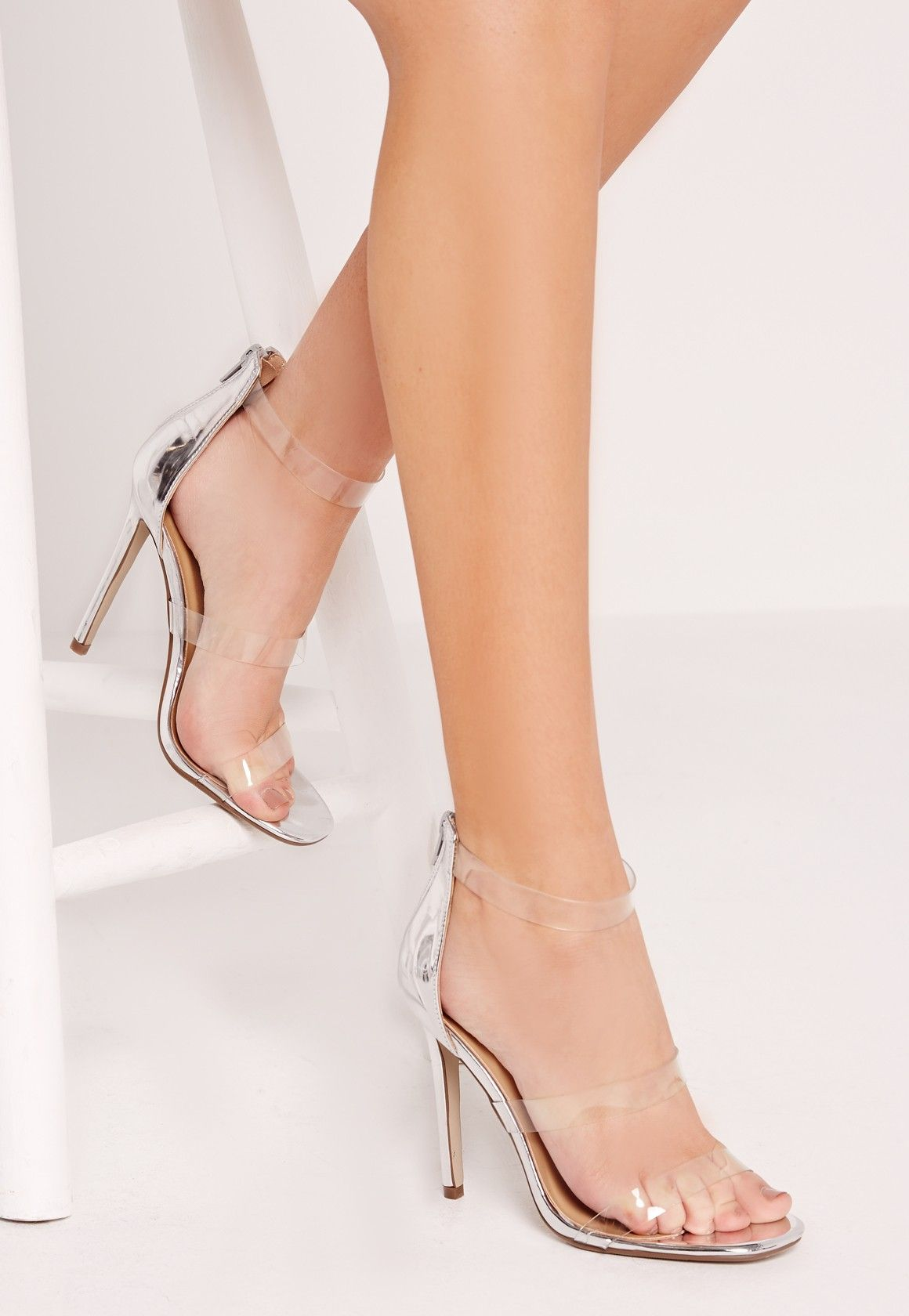 d2e5eca7dbb Missguided - Perspex 3 Strap Barely There Heeled Sandals Silver ...