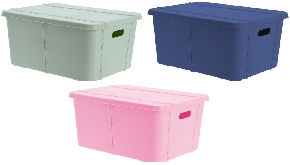 40 Litre Bright Coloured Lidded Storage Box Rectangle With Lid Handles Koop Lid Storage Storage Storage Box