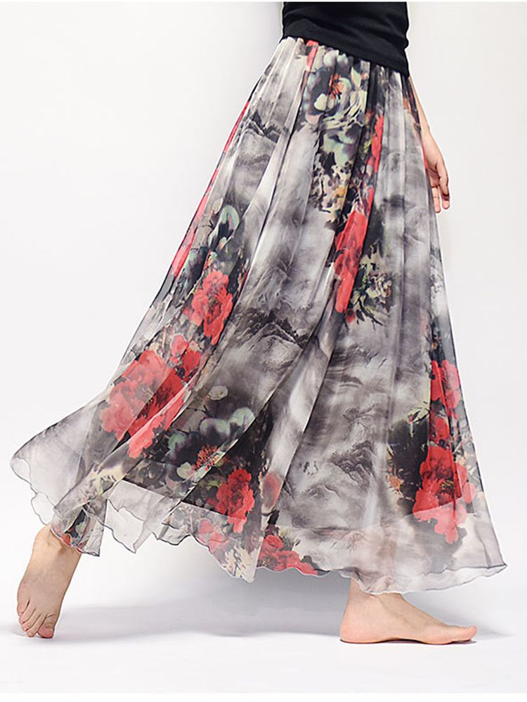 042dd95c1 Gracila Chiffon Floral Printed Elastic Waist Boho Maxi Skirt For Women