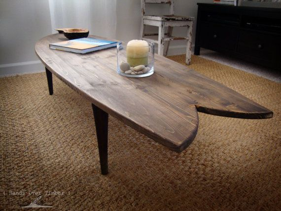 Surfboard Coffee Table Handcrafted Wood Surf By Gemsofthesoil