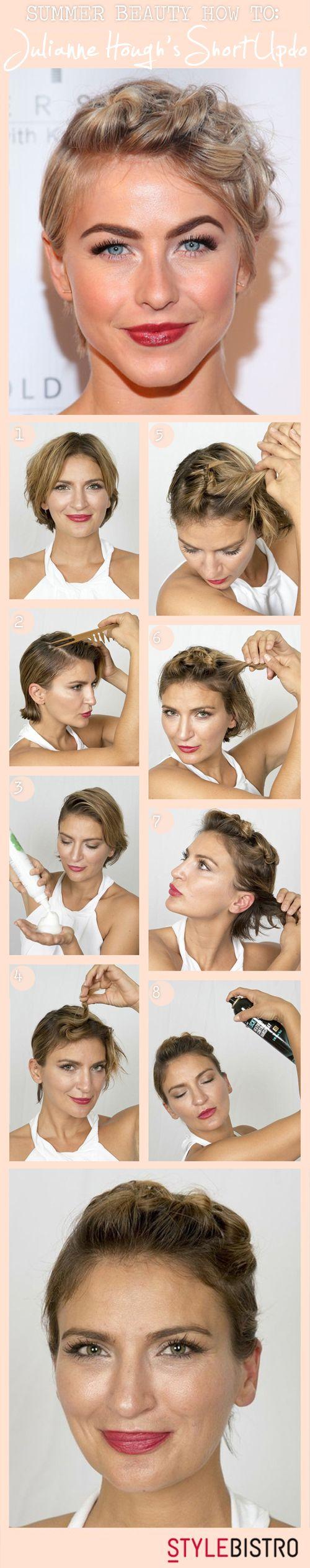 Summer beauty how to julianne houghus short hair updo short hair