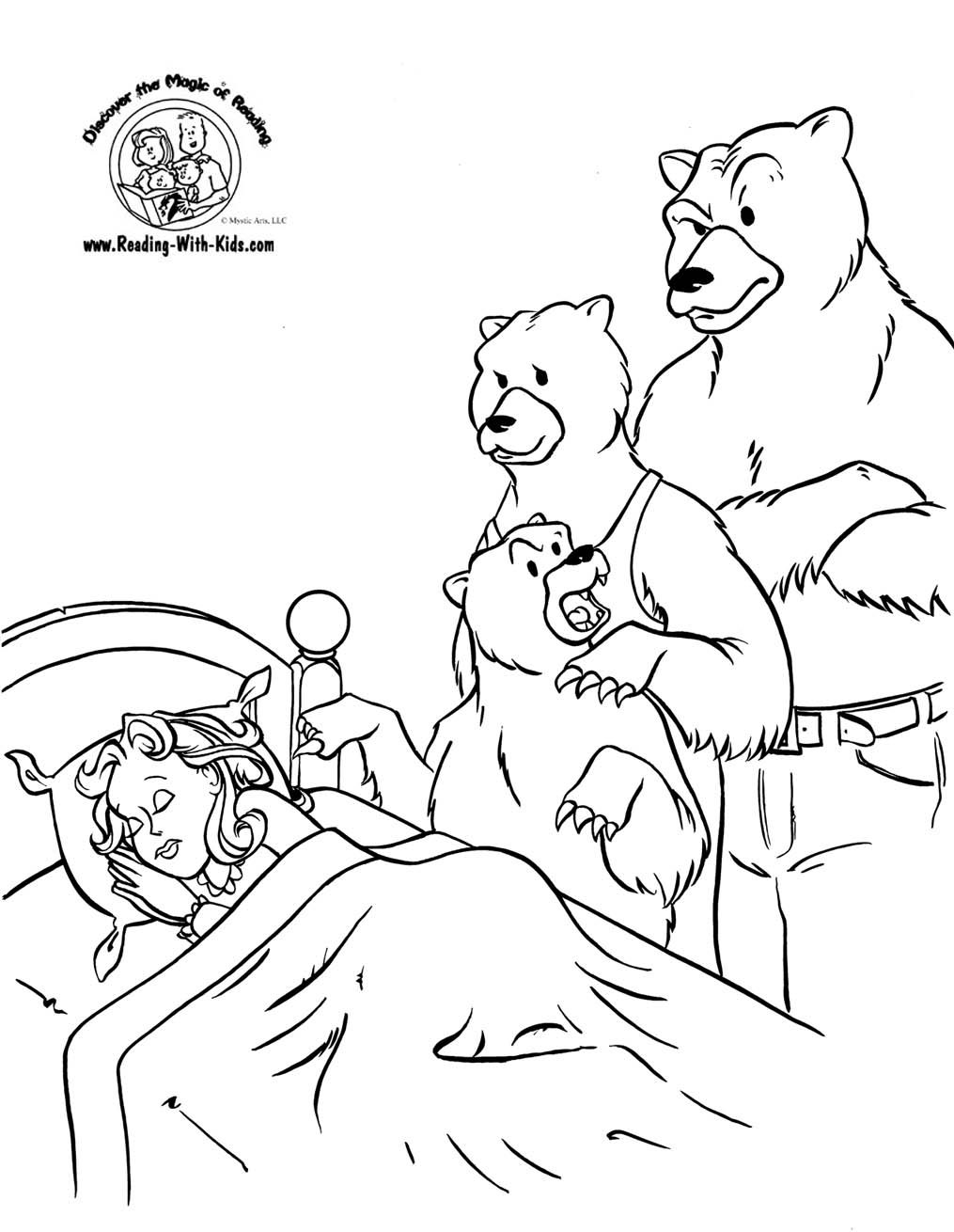 Goldilocks And The Three Bears Coloring Sheet FairyTale FairyTales
