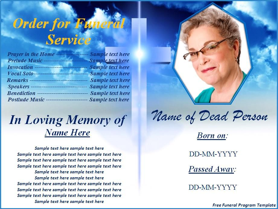 Free Funeral Program Templates    Download Button To Use This