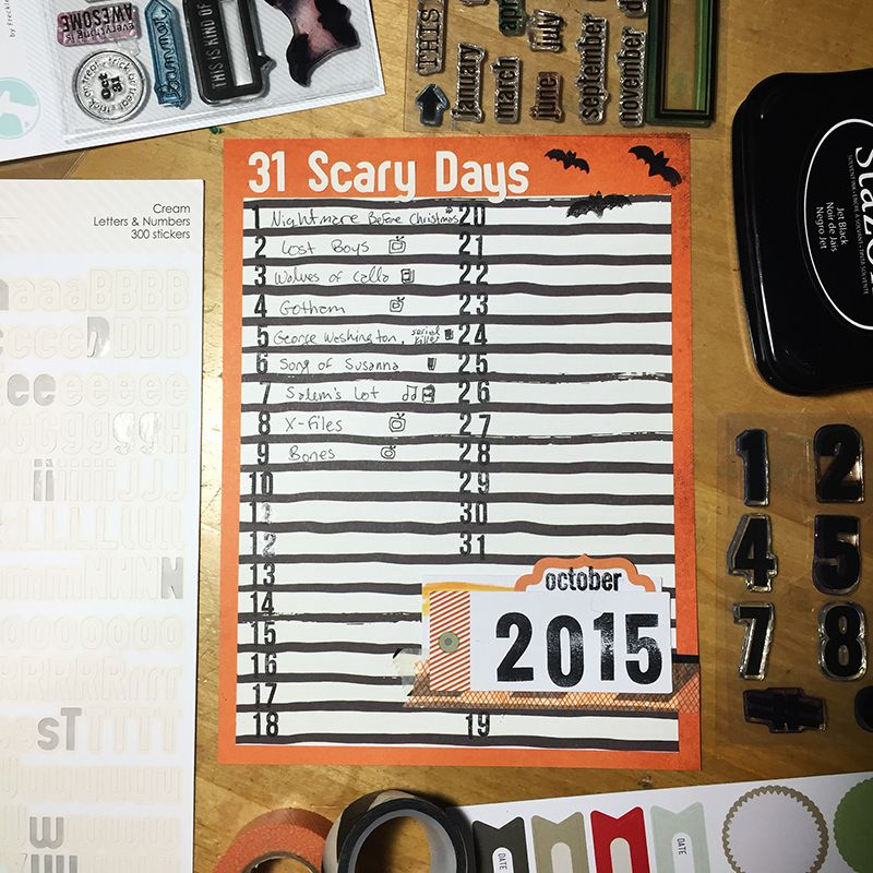 31 Scary Days List for October 2015 by Megan Anderson of The Nerd Nest