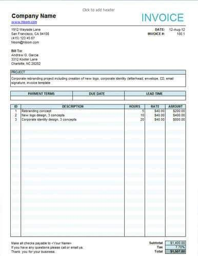 Free Service Invoice Templates Billing In Word And Excel Hloom