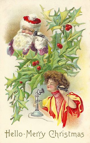 Hello Merry Christmas - Victorian Post Card