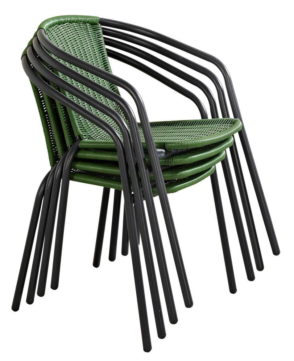 GERONA Chaise empilable vert foncé H 77 x Larg. 53 x P 58 cm ...
