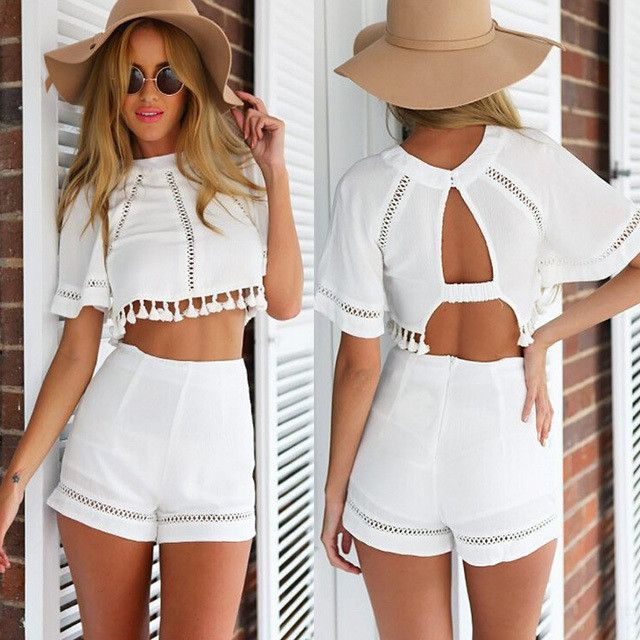 2pcs. Short set withbackless top and tassels